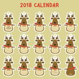 Printable 2018 Calendar. Cute Reindeer 2018 Calendar Cartoon Vector stock illustration