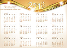 Printable Calendar for 2016. Elegant illustration of English Calendar for 2016 year, with inspirational message.. Days start from Sunday. Print colors used royalty free illustration