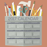 2017 Printable Calendar 12 Months Starts Sunday DIY of Handcraft's Tool Concept. 2017 Printable Calendar 12 Months Starts Sunday DIY of Handcraft's Tool Royalty Free Stock Image