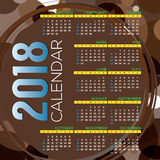 2018 Printable Calendar Starts Sunday Brown Circles Graphic Royalty Free Stock Images