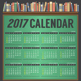 2017 Printable Calendar Starts Sunday On Chalk Board Background. Differently Books On Bookshelf, Education Concept Vector Illustration royalty free illustration