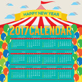 2017 Printable Calendar Starts Sunday Circus Concept. 2017 Printable Calendar Starts Sunday Circus Concept Vector Illustration Royalty Free Stock Images