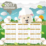 2017 Printable Calendar Starts Sunday Cute Sheep. 2017 Printable Calendar Starts Sunday Cute Sheep Vector Illustration Royalty Free Stock Photo