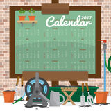 2017 Printable Calendar Starts Sunday Gardening Concept. Royalty Free Stock Images