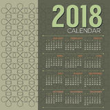 2018 Printable Calendar Starts Sunday Green Vintage Graphic Stock Image