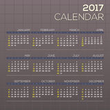 2017 Printable Calendar Starts Sunday Grid Graphic. 2017 Printable Calendar Starts Sunday Grid Graphic Vector Illustration Stock Photos