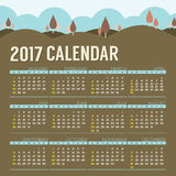 2017 Printable Calendar Starts Sunday Natural Landscape Vintage Color. Vector Illustration Royalty Free Stock Image