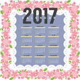2017 Printable Calendar Starts Sunday Pink Flowers Border. Vector Illustration Royalty Free Stock Photo