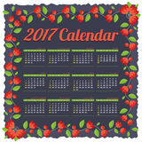 2017 Printable Calendar Starts Sunday Red Flowers Border. Royalty Free Stock Image