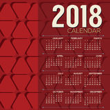 2018 Printable Calendar Starts Sunday Red Graphic Pattern Stock Image