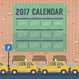 2017 Printable Calendar Starts Sunday Taxi Cars Park At Footpath. Vector Illustration Stock Image