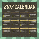 2017 Printable Calendar Starts Sunday. 2017 Printable Calendar Starts Sunday Vector Illustration Royalty Free Stock Photos
