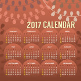 2017 Printable Calendar Starts Sunday. Vector Illustration Stock Photography