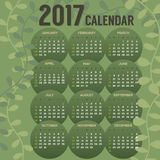 2017 Printable Calendar Starts Sunday. Vector Illustration Royalty Free Stock Image