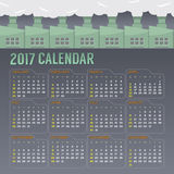 2017 Printable Calendar Starts Sunday. Vector Illustration Royalty Free Stock Photography