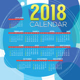 2018 Printable Calendar Starts Sunday Royalty Free Stock Image