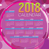 2018 Printable Calendar Starts Sunday Vector Royalty Free Stock Photography