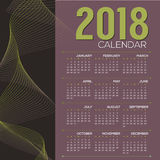 2018 Printable Calendar Starts Sunday Vector Stock Image