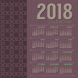 2018 Printable Calendar Starts Sunday Vector Royalty Free Stock Photos