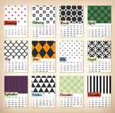 2016 Printable Calendar. 2016 calendar in us style, start on sunday, each month with individual table. Patterned zentangle background, printable calendar Royalty Free Stock Images