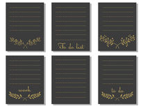 Printable card black and gold colors. Print to do list Stock Photos