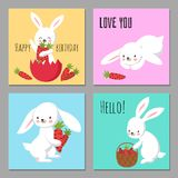 Printable cards with cartoon character bunnies with carrots royalty free illustration