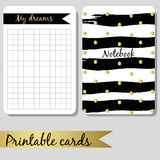Printable cards for notes, design notebook black Stock Photos