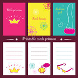 Printable cards princess. Stock Photography