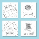 Printable cards for sites in the retro style. Sewing device and equipment for manufacturing and clothing and textiles. Made in Ita Stock Image