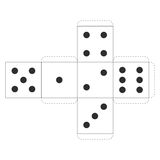 Printable Casino Dice Template, Vector Stock Image