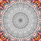 Printable coloring book page for adults - mandala design, activity to older children and relax adult. vector Islam Stock Photography