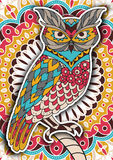Printable coloring book page for adults - owl design, activity to older children and relax adult. vector   with Islam Stock Photos