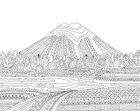 Printable coloring page for adults with mountain landscape, lake, flower meadow, forest, trees. Hand drawn vector Stock Photography