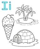 Printable coloring page for kindergarten and preschool. Card for study English. Vector coloring book alphabet. Letter I. island,. Iglo, ice cream stock illustration