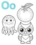 Printable coloring page for kindergarten and preschool. Card for study English. Vector coloring book alphabet. Letter O. orange,. Owl, octopus vector illustration
