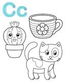 Printable coloring page for kindergarten and preschool. Card for study English. Vector coloring book alphabet. Letter C. Cat, cup vector illustration