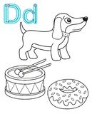 Printable coloring page for kindergarten and preschool. Card for study English. Vector coloring book alphabet. Letter D. dog, drum