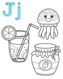 Printable coloring page for kindergarten and preschool. Card for study English. Vector coloring book alphabet. Letter J. juice,. Jellyfish, jam royalty free illustration