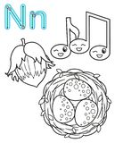 Printable coloring page for kindergarten and preschool. Card for study English. Vector coloring book alphabet. Letter N. nuts, vector illustration