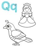 Printable coloring page for kindergarten and preschool. Card for study English. Vector coloring book alphabet. Letter Q. quail,. Queen vector illustration