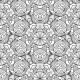 Vector Seamless Monochrome Pattern. Printable Coloring Pages. royalty free illustration