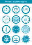 Printable cupcake toppers for father's day Royalty Free Stock Photography
