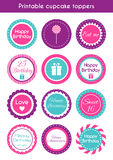 Printable cupcake toppers Royalty Free Stock Image