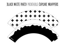 Printable cupcake wrappers for Black and white Party. Stock Photography