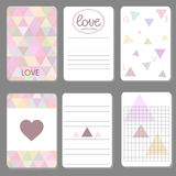 Printable cute design cards triangle Stock Photos