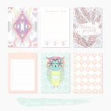 Printable cute set of filler cards with aztec pattern, owl. And feathers. Vector templates for posters, flyers, banner designs, journal cards, scrapbook vector illustration