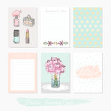 Printable cute set of filler cards with flowers, makeup, jewelry. And beauty accessories. Vector templates for posters, flyers, banner designs, journal cards Stock Photos