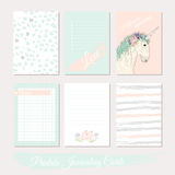 Printable cute set of filler cards with flowers, unicorn Royalty Free Stock Image