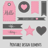 Printable design elements for scrabookng, blog and Royalty Free Stock Photography