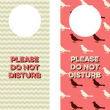 Printable Doorknob Hangers. Two Door Knob Tags that read Please do not disturb and have chevron and bird patterns Royalty Free Stock Image